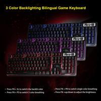 3 Colors Crack Illuminated LED Backlight USB Wired Multimedia PC Mechanical Desktop Gaming Keyboard