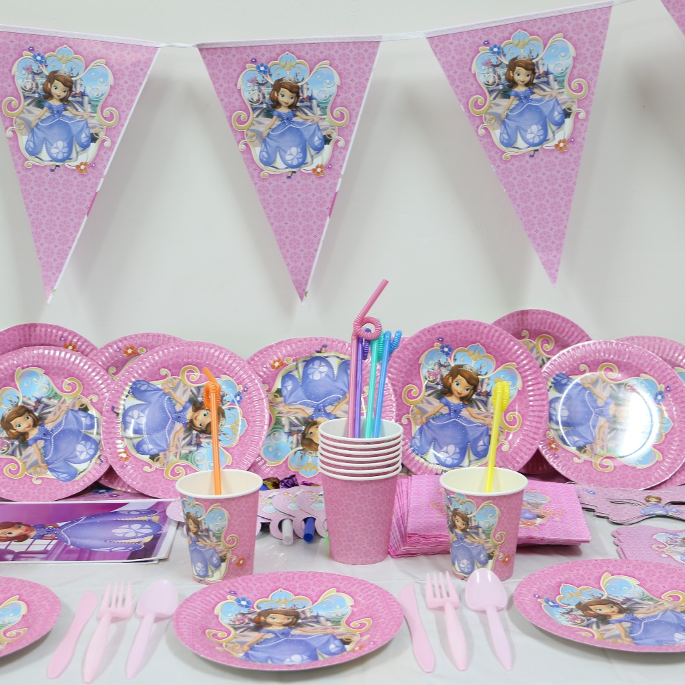1pack 78pcs Wholesale Sophia Princess Baby 1st Birthday Theme Party Supplies Kids Decoration For 12 People Use