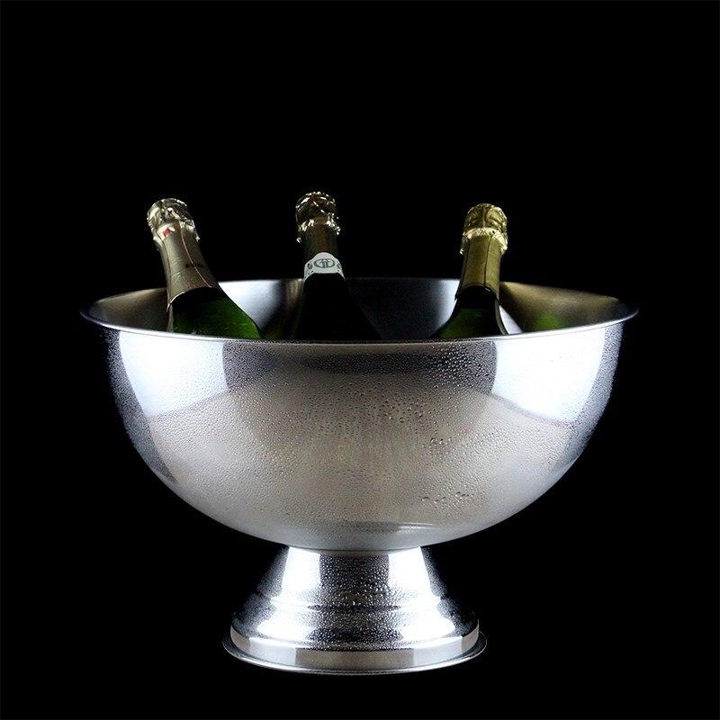 304 En Acier Inoxydable Seau À Glace Décoratif En Métal Vin Refroidisseur Parti Barware Champagne Servir Verres Fournitures Bar Accessoires