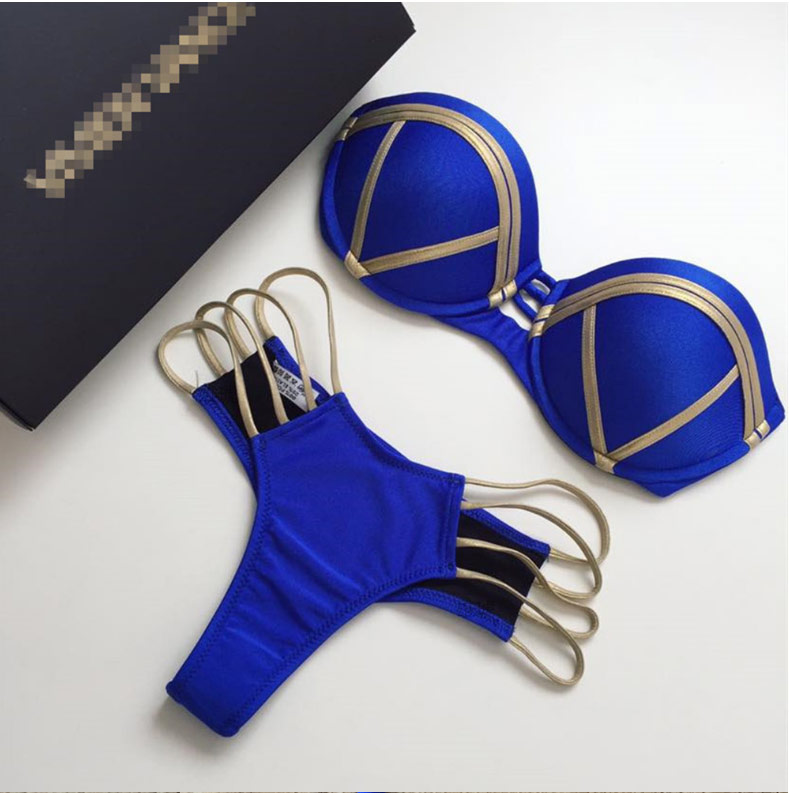 2018 Gold Stamping Bikini Set Sexy Padded Women Swimsuit Push Up Bandeau Swimwear Summer Beachwear Brazil Bathing Suit bandage