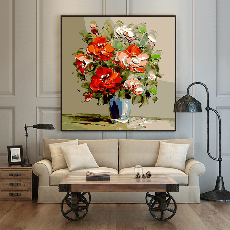 Paint By Number Art Painting By Numbers Creative Still Life Flowers Rich Background Wall Hand-painted Fill Decorative Paintings