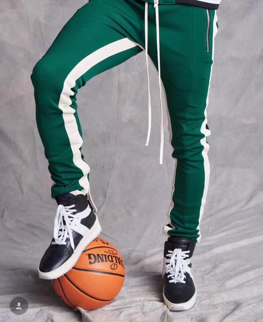 545647c363268e Vintage Double Striped Track Pants 2017 Slim Fit Zipper Ankle&Pockets  Joggers Contrast Waistline Free Shipping
