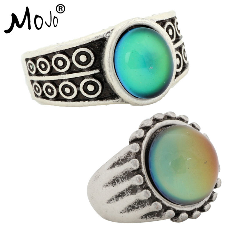 2PCS Antique Silver Plated Color Changing Mood Rings Changing Color Temperature Emotion Feeling Rings Set For Women/Men 007-043