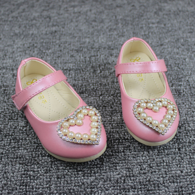2017 Hear Design Baby Girls Shoes Ankle Strap Baby Girls Party Shoes Beading Infant Girl Wedding Shoes Pearls Chaussure Enfant