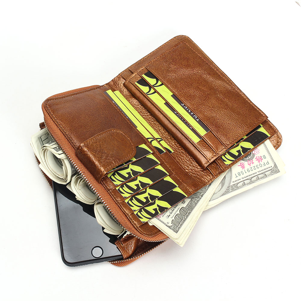2017 New Style Women Wallets Brand Design High Quality Genuine Leather Wallet Female Hasp Fashion Dollar Price Long Women Wallet in Wallets from Luggage Bags