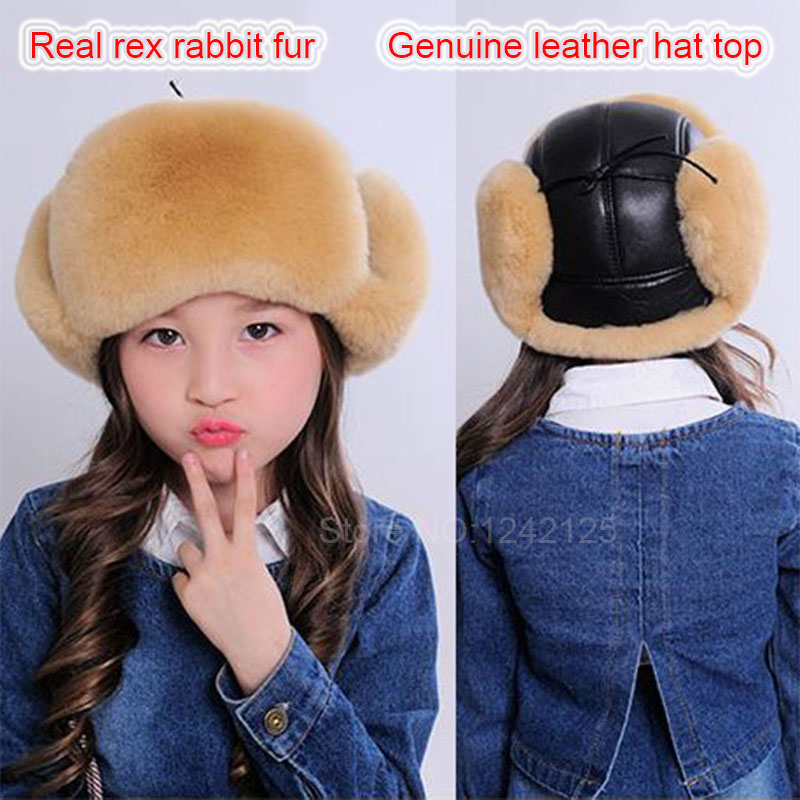 New Winter boy girl Russia fur real rex rabbit hat earmuffs genuine leather top kids baby fur earflaps ear children fur hat cap