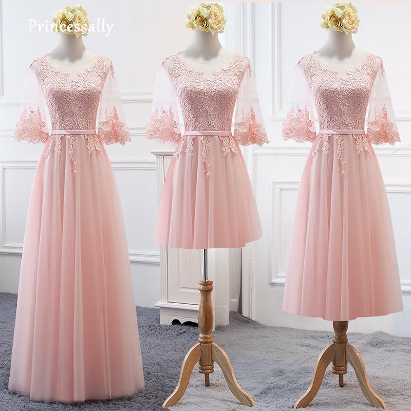 3059 29 De Descuentonuevos Vestidos De Dama De Honor De Color Rosa Pastel De Encaje De Media Manga Para Primavera Otoño Al Aire Libre Vestido De