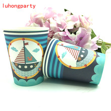 10pcs Sailboat theme Paper cup Disposable Cups tableware kids favors for children sailing vessel birthday party sail boat