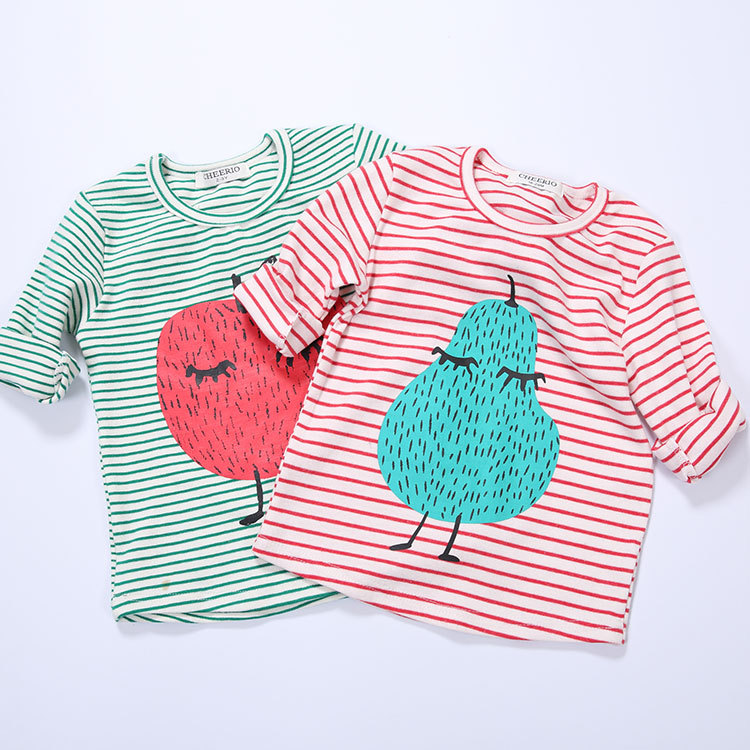 2016 autumn winter bobo choses fruits pear apple stripe long sleeved cotton t shirts kids t shirts hoodies kikikids vestidos