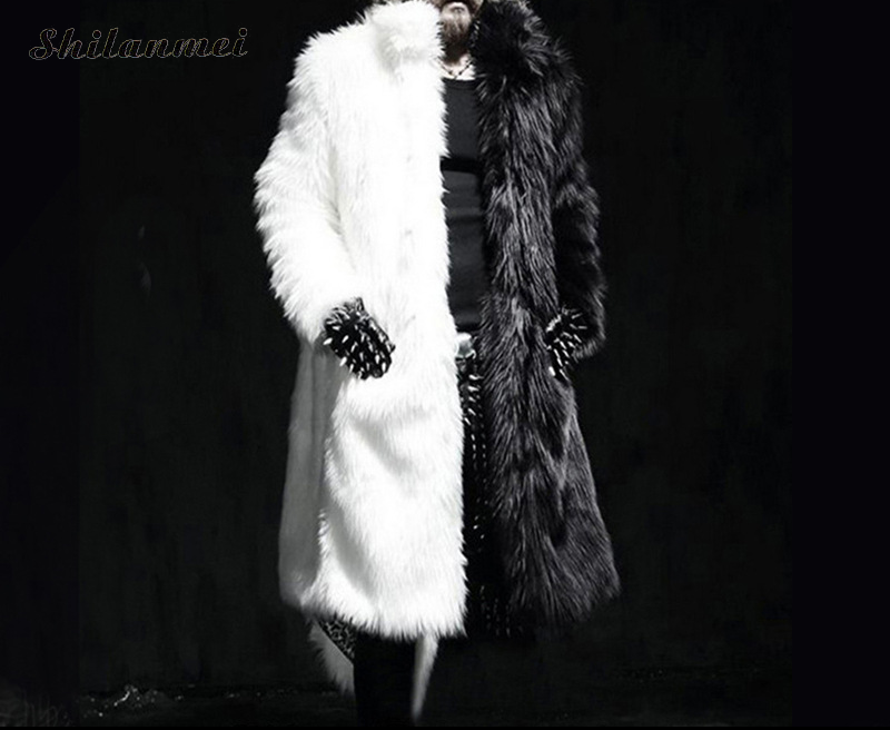 Luxury Winter Men Long Faux Fur Coat 2018 Warm Thick Fox Fur Jacket Black/White Contrast Color Fur Outerwear Casual Parka Coat