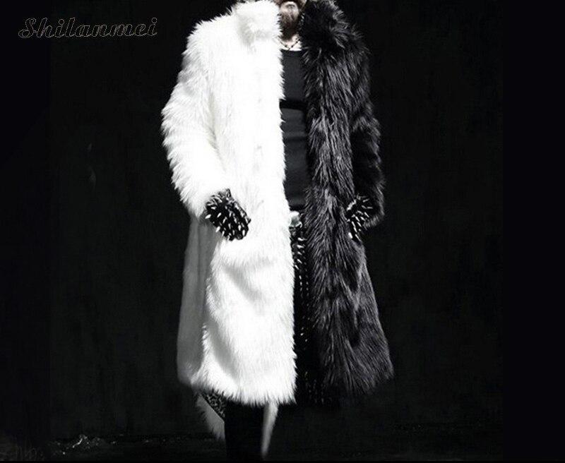 Luxury Winter Men Long Faux Fur   Coat   2018 Warm Thick Fox Fur Jacket Black/White Contrast Color Fur Outerwear Casual Parka   Coat