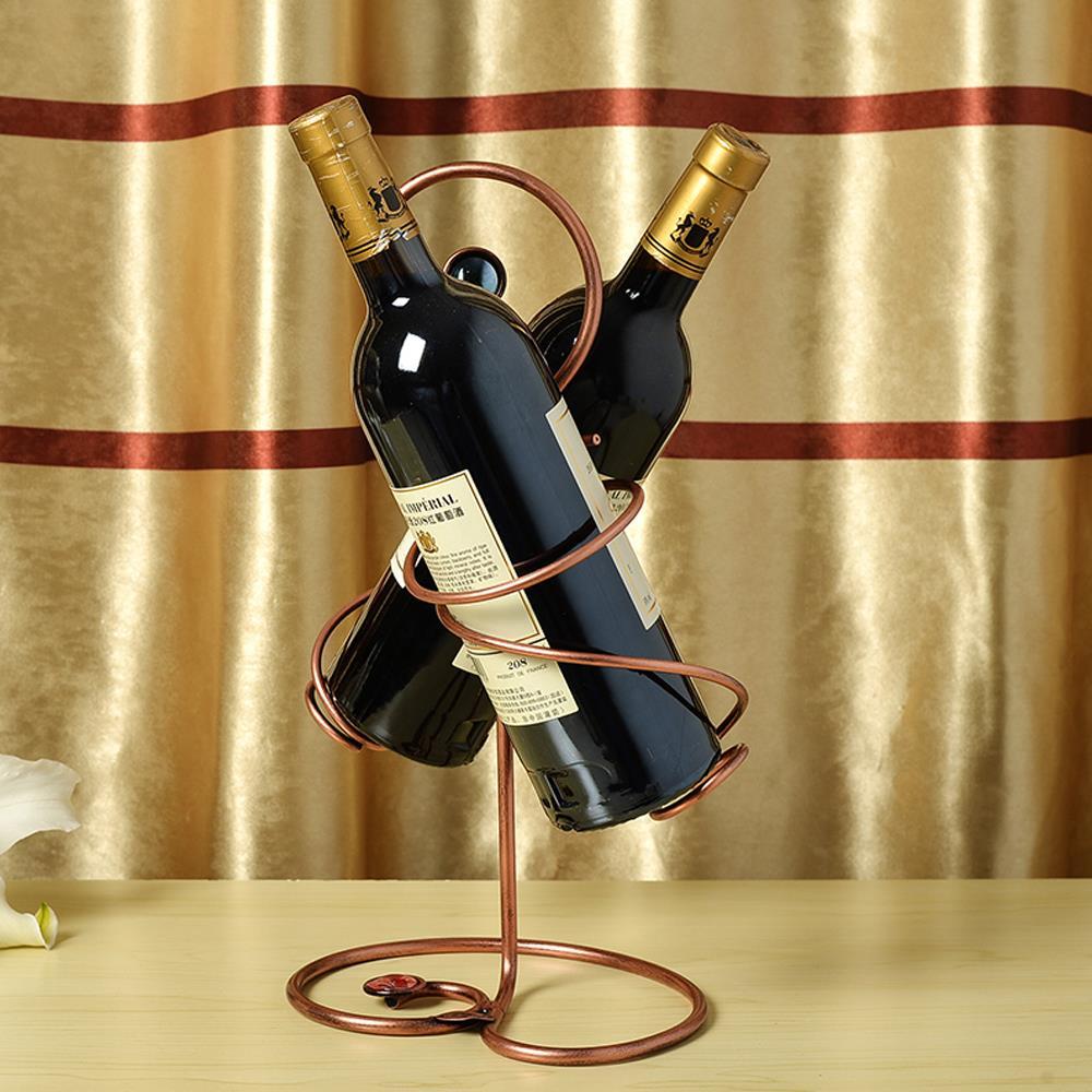 Fashion Hot Wrought Iron Handmade Red Wine Bottle Holder Rack 2
