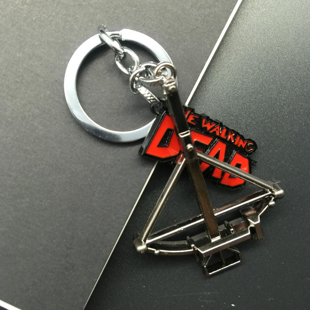 Freeshipping High Quality Movie Series The Walking Dead Keychain Crossbow And Letter Pendant Fashion Keyring