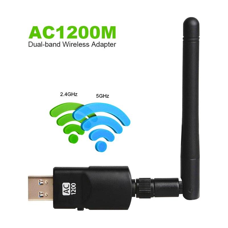 1200 Mbps WIFI inalámbrico adaptador de USB3.0 doble banda 802,11 acbgn AC antena Gigabit WiFi Superspeed tarjeta para portátil computadora de escritorio