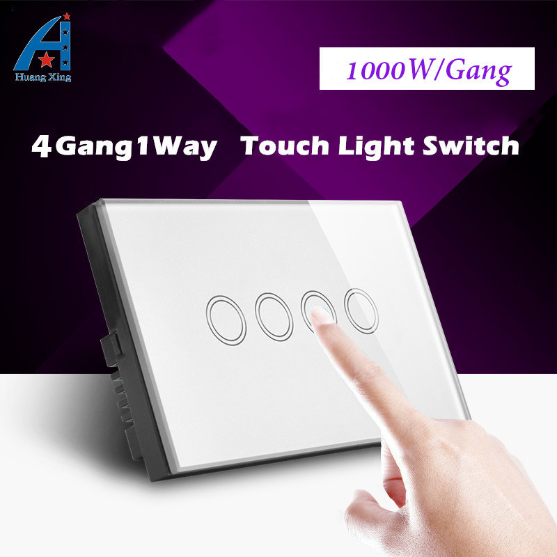 1000W 4 Gang 1 Way US/AU Standard Touch Switch, HUANGXING Electric Light switch, Tempered Crystal Glass Panel Wall Switch 240V smart home black touch switch crystal glass panel 3 gang 1 way us au light touch screen switch ac110 250v wall touch switches