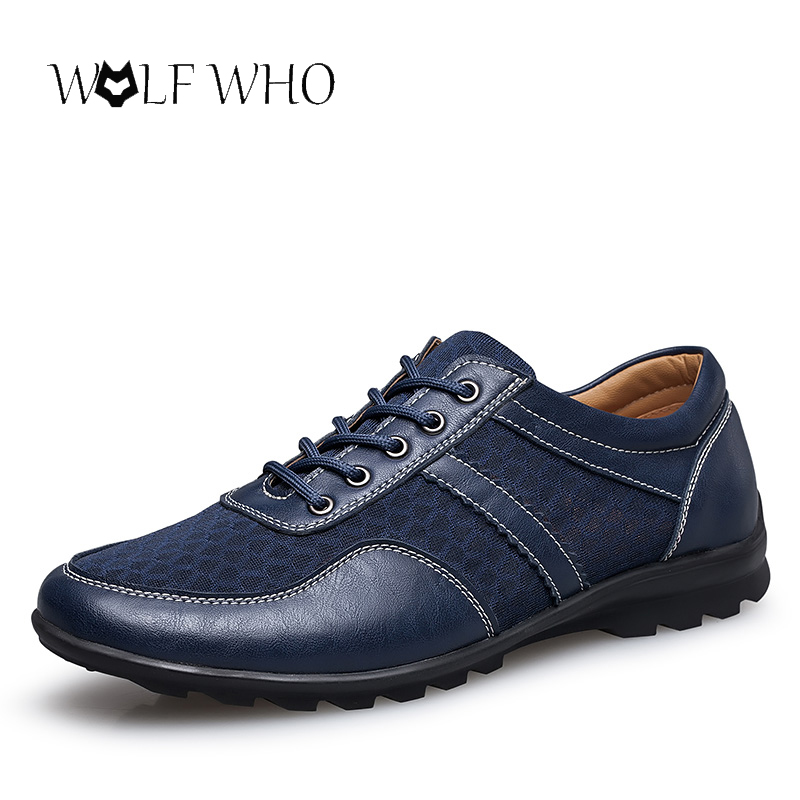 Wolf who plus size 37-47 Men Shoes Men Genuine Leather Shoes Summer Breathable Lace up Flats Light Male Footwear Dropshipping urbanfind genuine leather men shoes black white footwear plus size 39 47 high quality man lace up casual flats 45 46 47