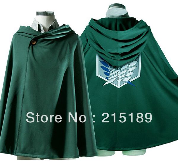 TITAN costume green cloak cape   CARTOON cool Shingeki no Kyojin/Attack on Titan Eren Jaeger Anime cosplay cape cloak 4 Size