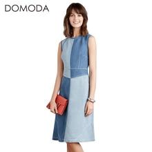 DOMODA High Waist Denim Brief Summer Dresses Women Vintage Sleeveless Midi Dress Female O-neck Patchwork Casual Vestidos Female