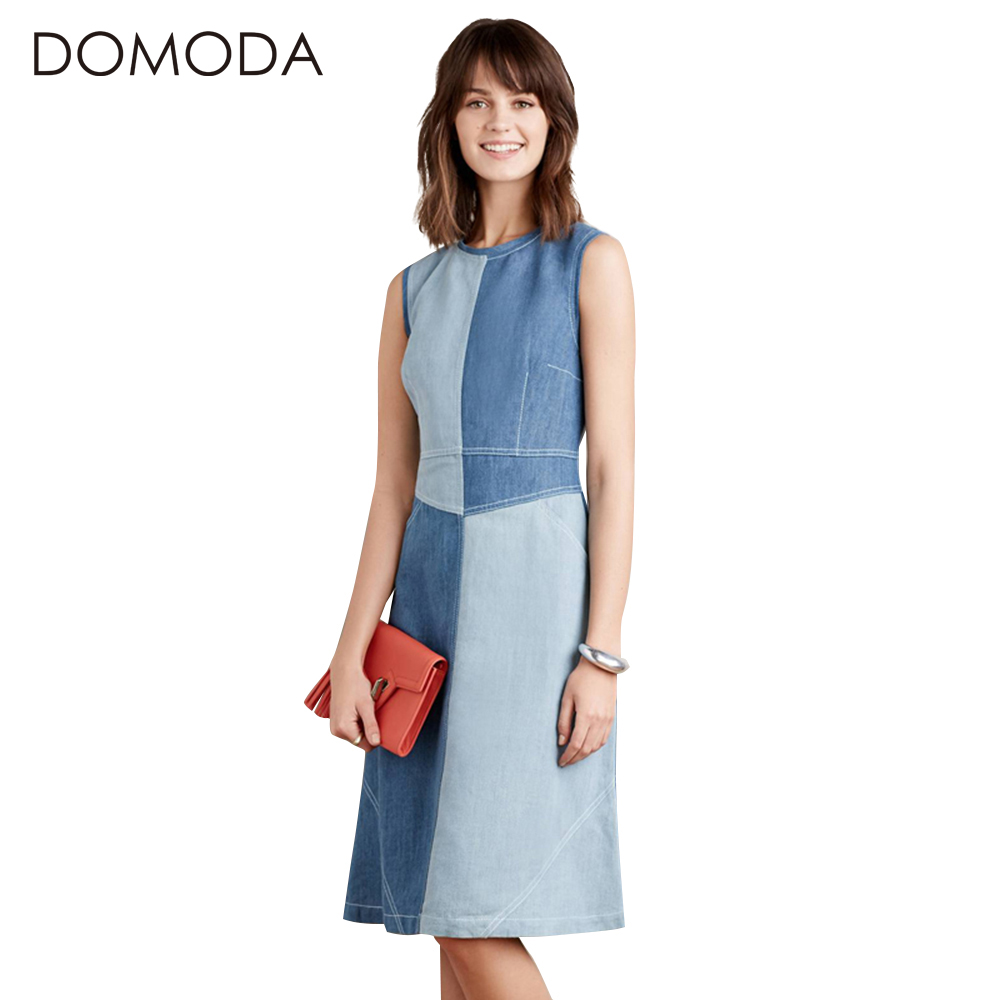 Buy Cheap DOMODA High Waist Denim Brief Summer Dresses Women Vintage Sleeveless Midi Dress Female O-neck Patchwork Casual Vestidos Female