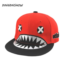 2015 New Children XX Letter Bone Snapback Baseball Hats Kids Shark Cartoon Flat Hip Hop Fashion Cap Girl Boy Sport