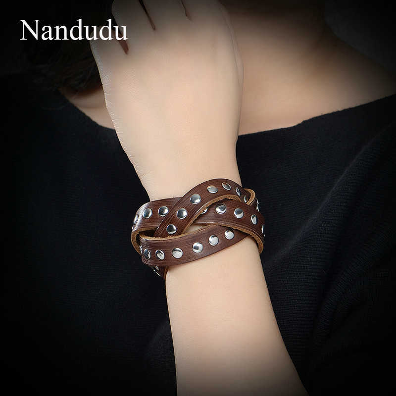 Nandudu男女性ユニセックスツイストレザーブレスレット新しい到着ファッションロープ腕輪ジュエリーb1027