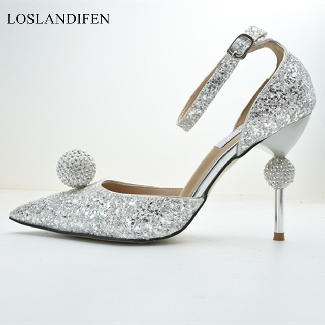 Luxury design crystal party wedding shoes 2018 autumn sexy point toe thin  high heels women pumps silver black red bridal shoes b6965cf6144b