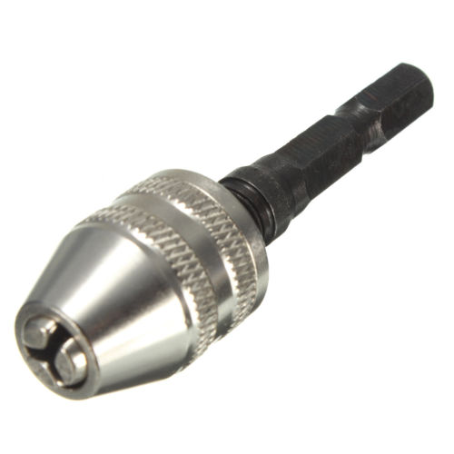 Silver+Black 6mm Keyless Drill Bit Chuck Quick Change Adapter Converter Hex Shank