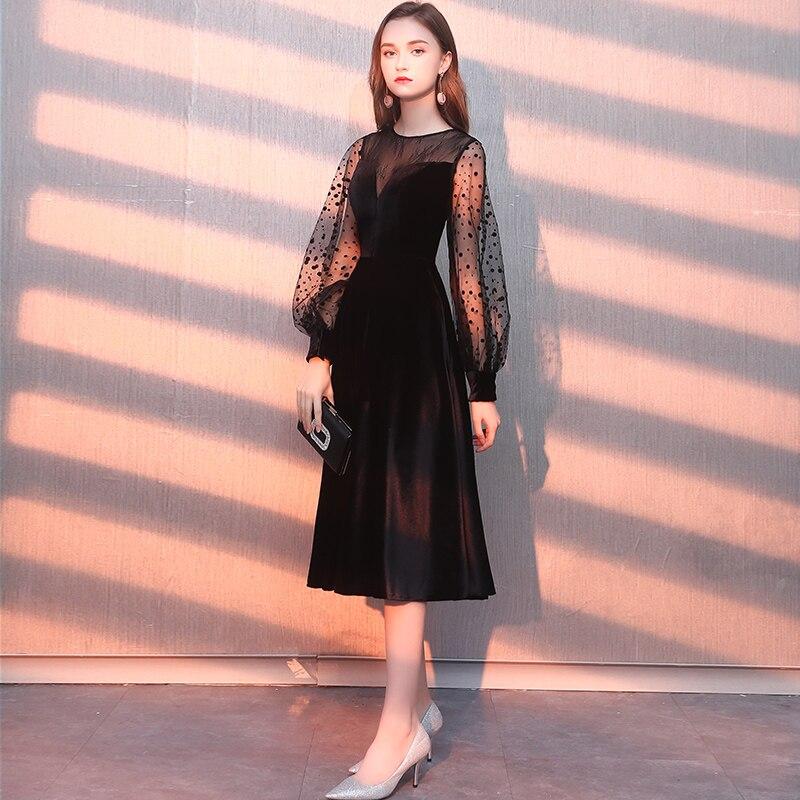 2019 Robe De soirée manches longues velours Robe De soirée fête robes élégantes Tulle une ligne Vestidos De Festa Vestido Longo LYFY55