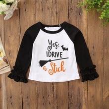 Cute Toddler Kids Baby Girl Clothes Long Sleeve Halloween Print T shirt Tops