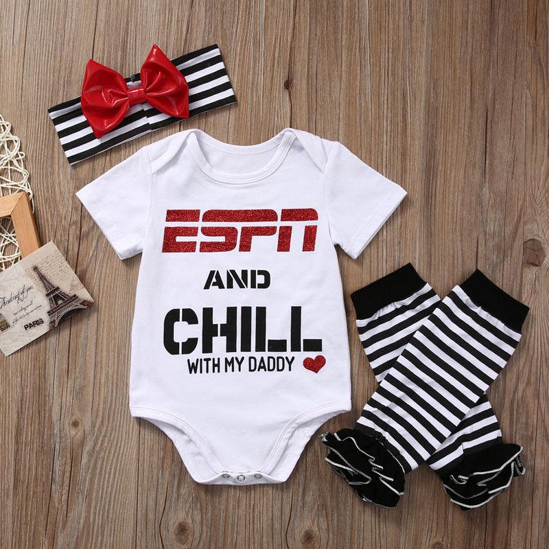 Energiek 2018 Multitrust Pasgeboren Baby Meisjes Kleding Set Espn En Chill Met Mijn Papa Romper Jumpsuit Beenwarmers Hoofdband Outfit Modern En Elegant In Mode
