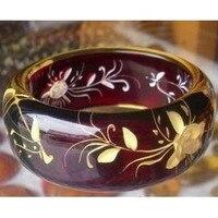 Al por mayor especial exquisita hermosa cera de abejas pulsera tallada flor de la orquídea estilo pulsera