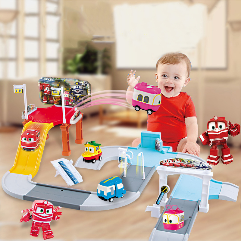 NEW Robot Trains Transformation Kay Alf Dynamic Train Family Bus Station Deformation Train Car Action Figure Toy