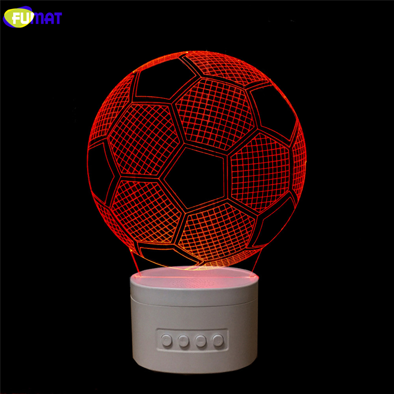 FUMAT Novelty 3D USB led Lamp FootBall  Bluetooth Speaker Music 3D Soccer LED Night Light Color Changeable Lamparas Kid Gift kmashi led flame lamp night light bluetooth wireless speaker touch soft light for iphone android christmas gift mp3 music player