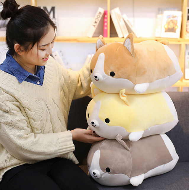 1pc Soft Corgi Dog Plush Toy Stuffed Animal Pillow Lovely Cartoon