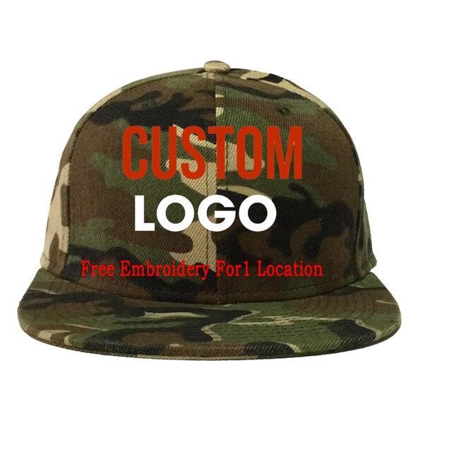 6a4b6e3eab472 Custom Free Only One Logo Text Embroidery Camo Snapback Cap Men Women Flat  Bil Camouflage 6