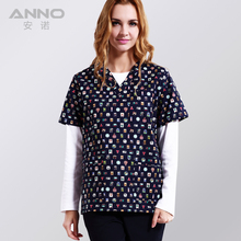 New arrival  printed medical clothings for Blue stamp fabric with comfortable and breathable uniform in scrubs set