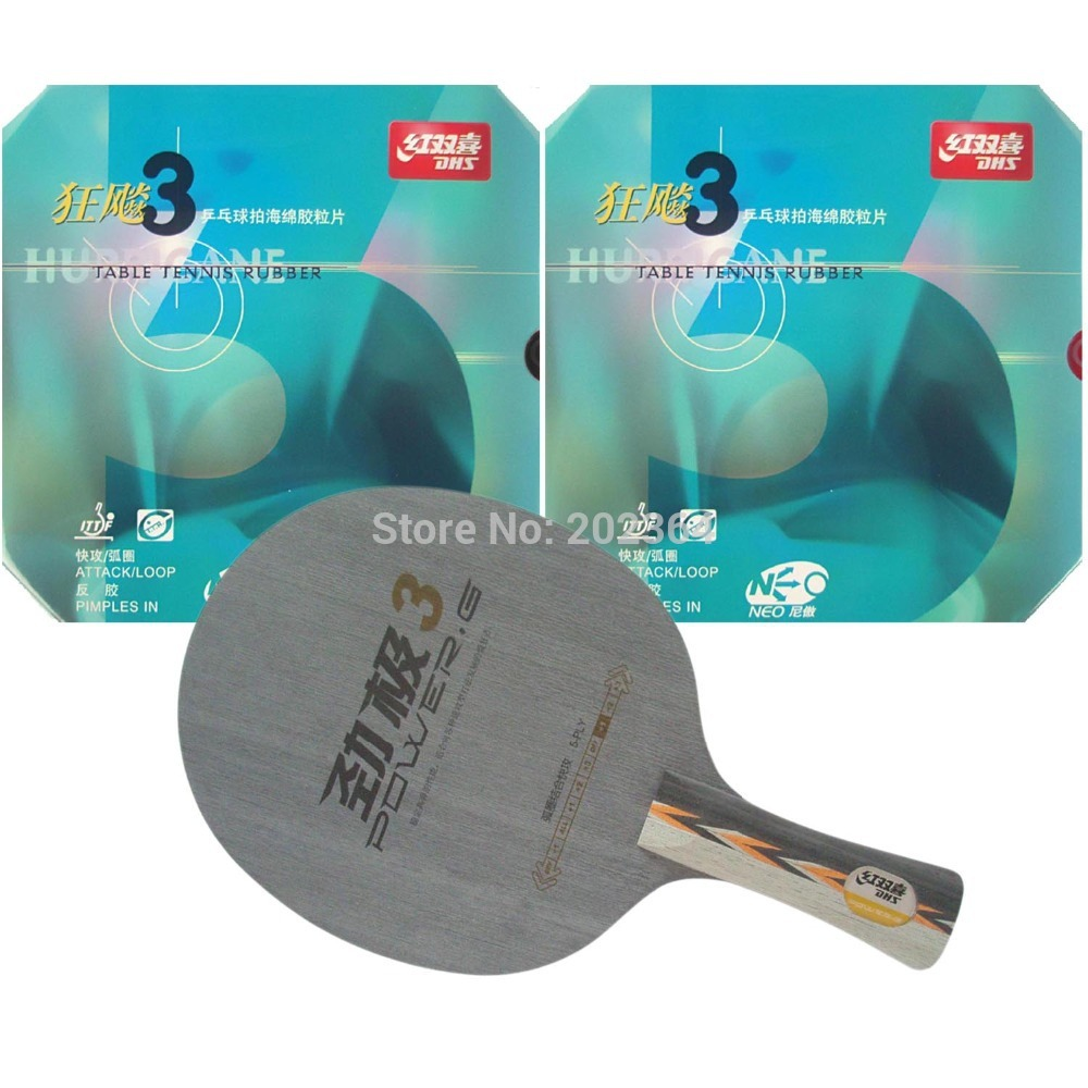 DHS POWER.G3 PG.3 PG3 Table Tennis Blade With 2x NEO Hurricane3 Rubber With Sponge for a PingPong Racket FL sword hd317 table tennis blade for pingpong racket