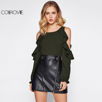 COLROVIE Army Green Open Shoulder Frill Trim Ruffle Blouse 2017 Round Neck Long Sleeve Cold Shoulder