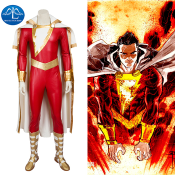 MANLUYUNXIAO  New Men's Captain Marvel Shazam Cosplay Costume Deluxe Outfit Halloween Costumes For Men Men Full Set Custom Made