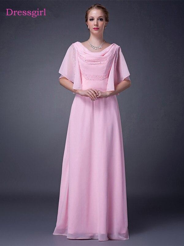 Rose 2018 Mère De La Mariée Robes A-ligne Demi Manches Mousseline de Soie Perlée Plus Taille Longue Élégant Marié Mère Robes De Mariage