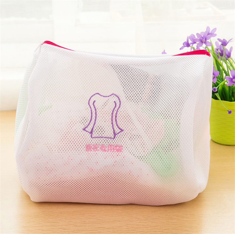 4 Sizes Zippered Foldable Nylon Laundry Bag Bra Socks Underwear Clothes Washing Machine Protection Net Mesh Bags