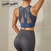 Dutte Dutta Stoßfest High Impact Sport-Bh Frauen Net Garn Padded Yoga Bh Atmungs Fitness Tank Top Gestellte Gym Kleidung