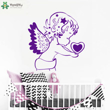 YOYOYU Wall Decal Angel Heart Pattern Wall Stickers For Kids Rooms Removable Interior Baby Bedroom Home Decor Art Cartoon SY909 space navigation pattern removable cartoon wall stickers