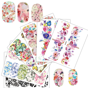 Image 5 - 25 Sheets Nail Art Sticker Sets Mixed Color Flower Full Water Decals Butterfly Slider Stickers For Polish Manicure TRWG266 290