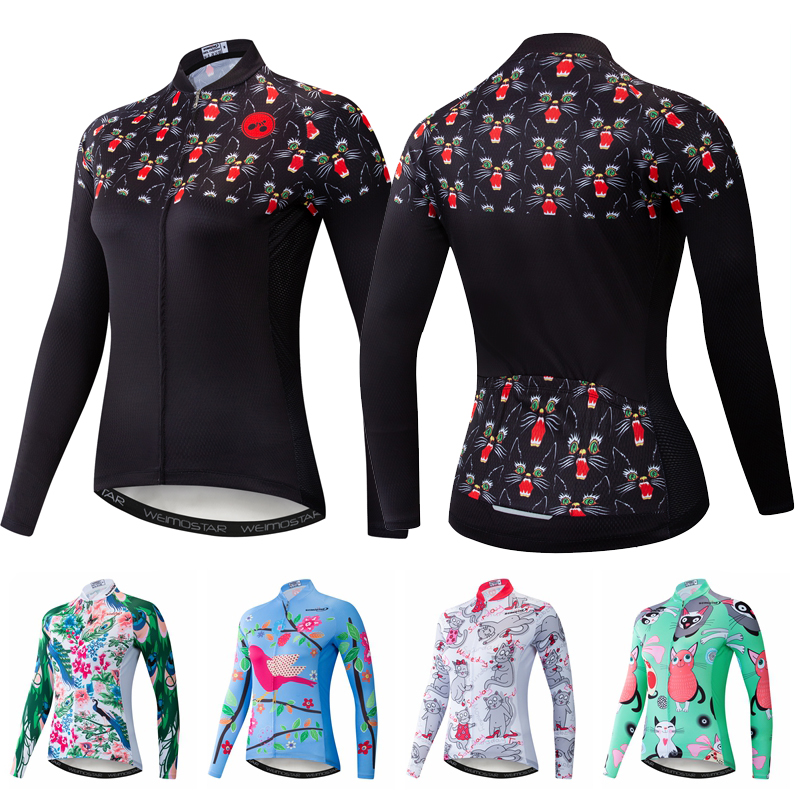 Cycling Jerseys Women Long Sleeve Mountain Road Bike Bicycle Clothing Clothes MTB Shirt Top Racing Ropa Maillot Ciclismo Cat Owl