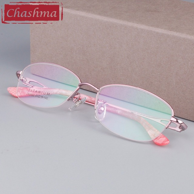 Chashma Brand Eye Glasses Women B Titanium Glasses Pink Color Frames ...