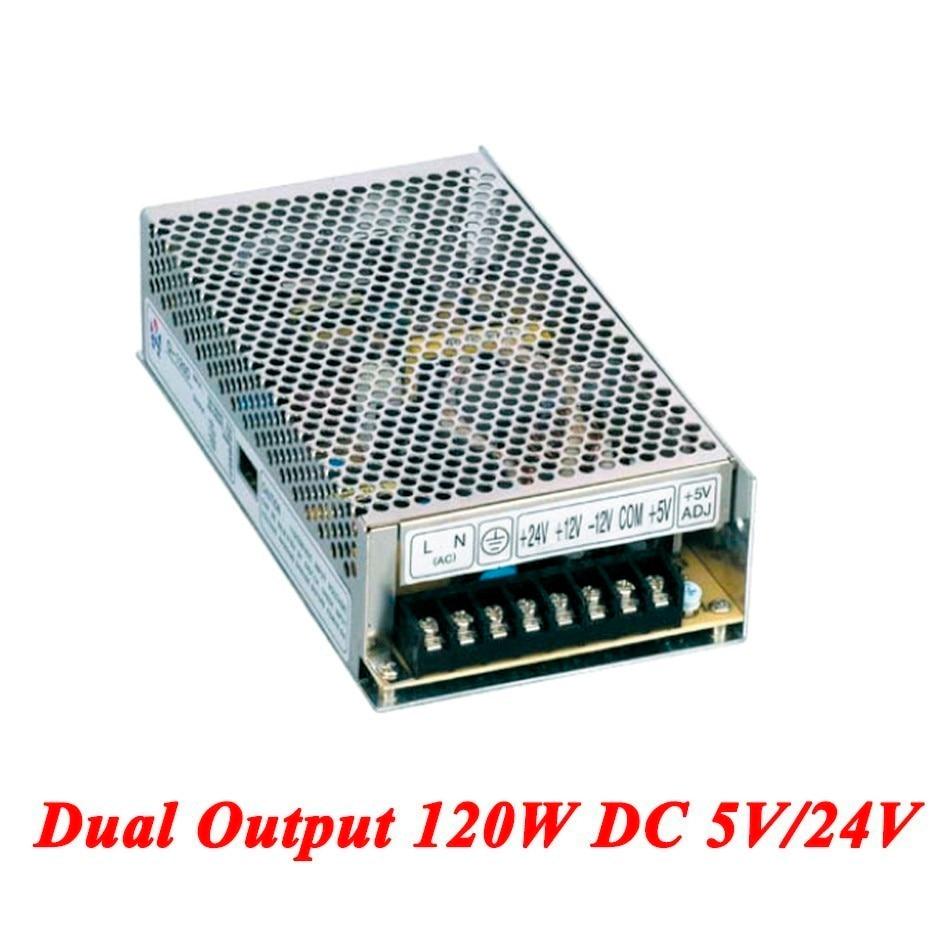 D-120B Switching Power Supply 120W 5V/24V,Dual Output Ac-dc Power Supply For Led Strip,voltage Converter 110v/220v To 5V/24V led control voltage transformer power supply 24v 5a 120w input ac 100v 240v output dc 24v for led strip