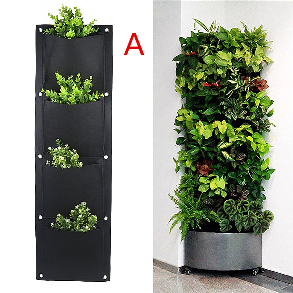 7 Pockets Vertical Garden Wall Planter Living Hanging Flower Pouch Green Field Pot Felt Indoor/Outdoor Wall Mount Balcony Plant