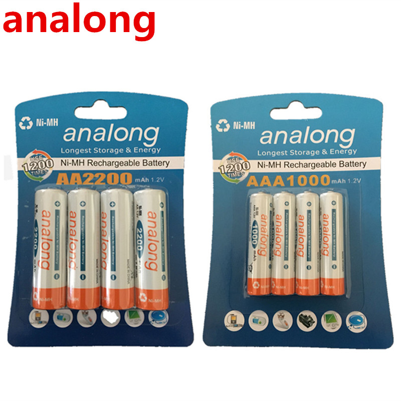 analong 1.2V 2200mAh AA Batteries + 1.2V <font><b>1000mAh</b></font> <font><b>AAA</b></font> Batteries NI-MH AA/<font><b>AAA</b></font> <font><b>Rechargeable</b></font> Battery image