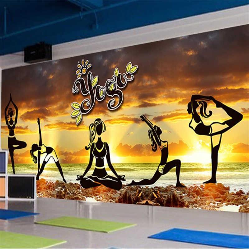 Wellyu Elegant Aesthetic Yoga Culture Wall Fitness Club Wall Custom Large Mural Green Wallpaper Papel De Parede Para Quarto Aliexpress